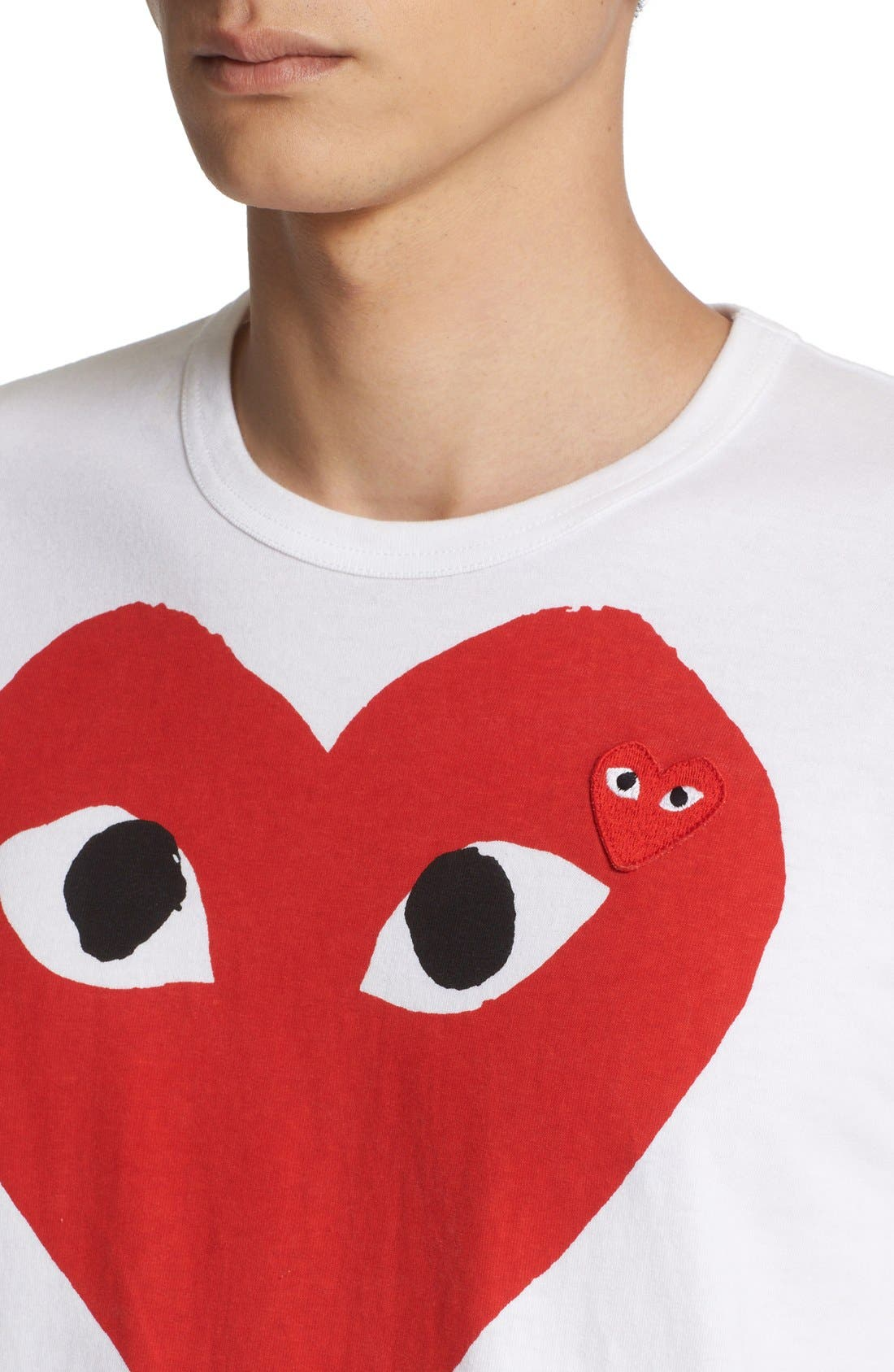 ,                             Heart Face Slim Fit Graphic T-Shirt,                             Alternate thumbnail 4, color,                             WHITE