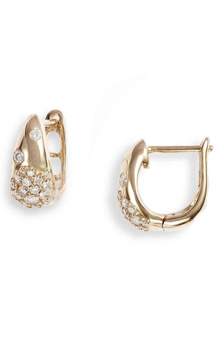 DANA REBECCA DESIGNS Cynthia Rose Pavé Huggie Earrings, Main, color, YELLOW GOLD