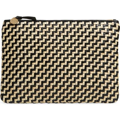 Clare V. Flat Woven Leather Clutch - Black