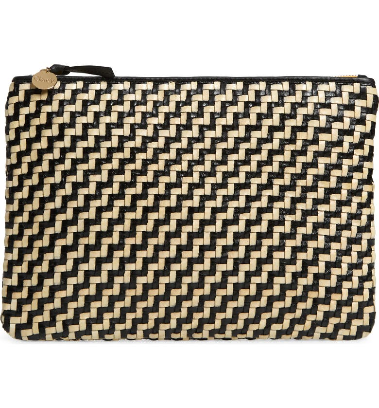 CLARE V. Flat Woven Leather Clutch, Main, color, BLACK CREAM