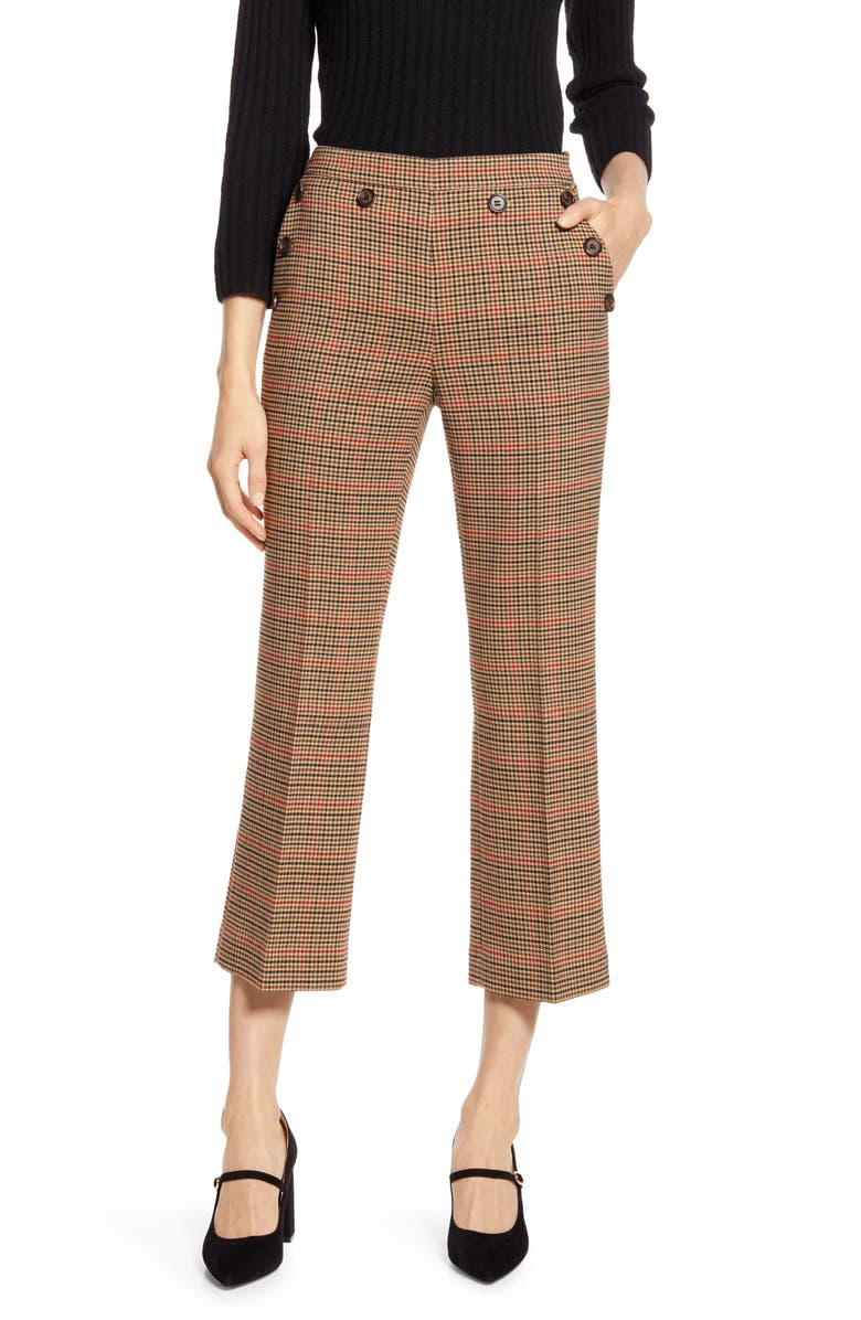 HALOGEN<SUP>®</SUP> x Atlantic-Pacific Check Kick Flare Pants, Main, color, BEIGE MULTI HOUNDSTOOTH