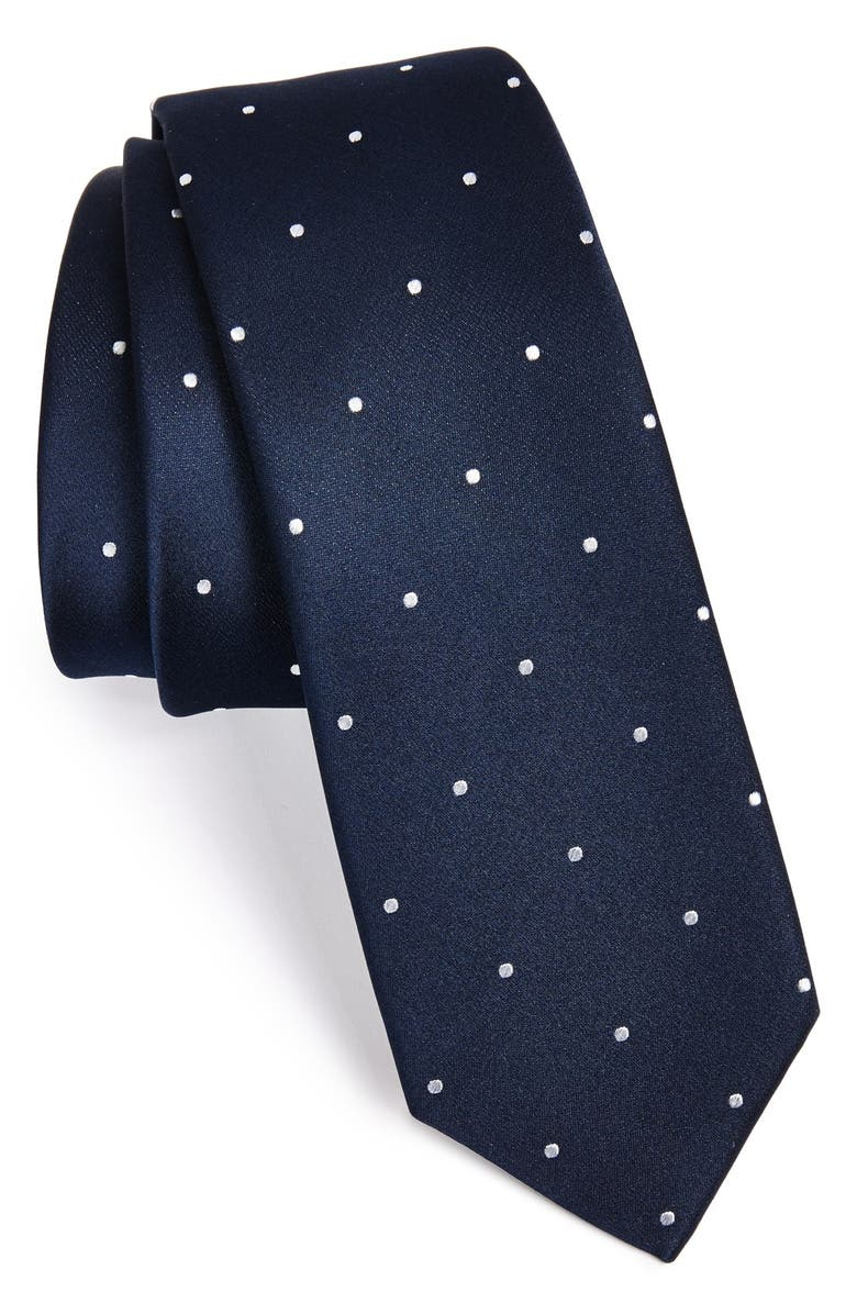THE TIE BAR Woven Silk Tie, Main, color, NAVY