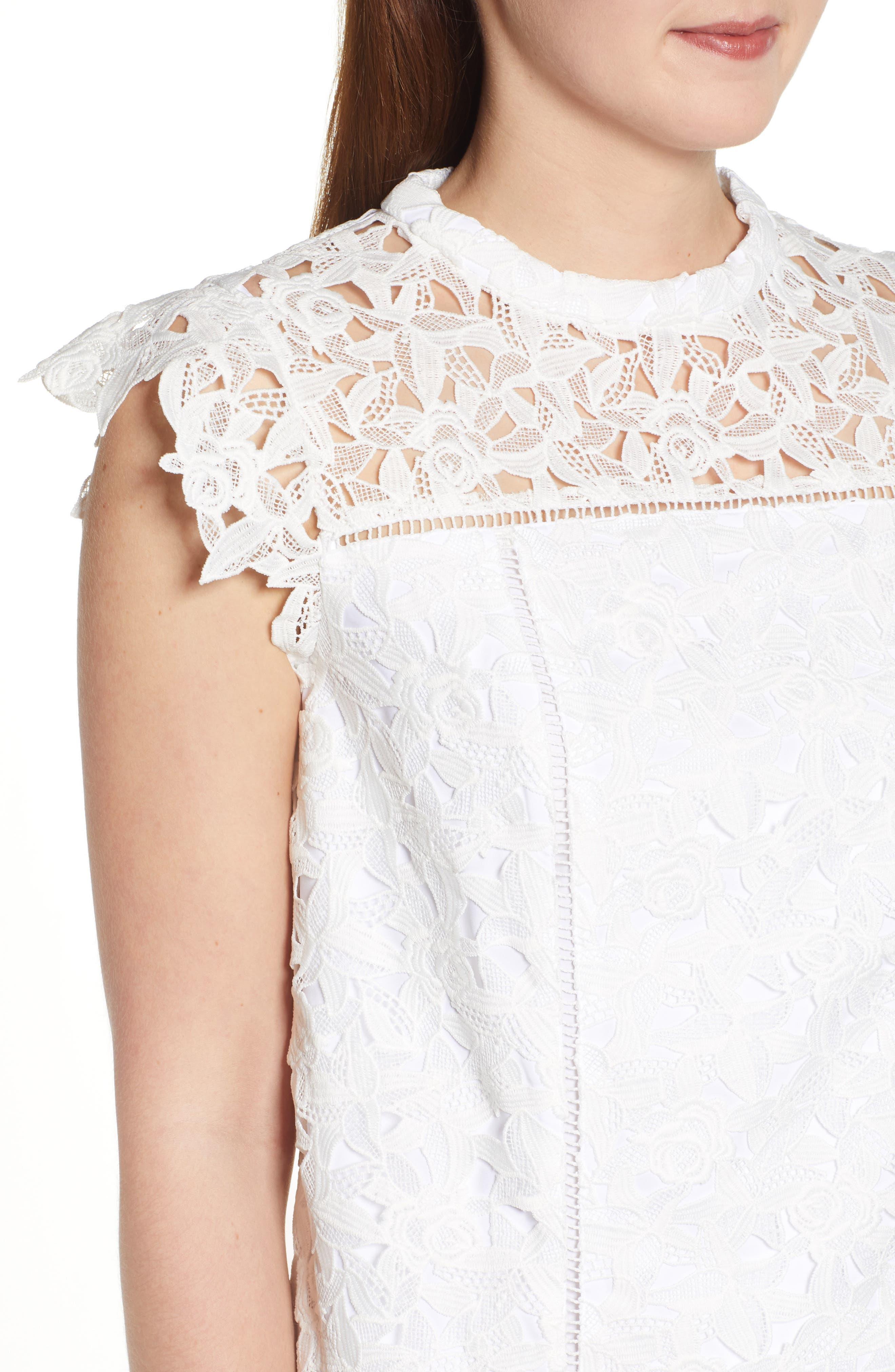 ,                             Lace Shift Dress,                             Alternate thumbnail 5, color,                             WHITE CAP