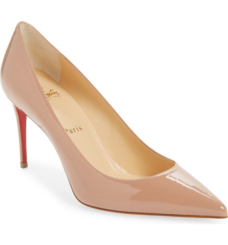 CHRISTIAN LOUBOUTIN Kate Pointed Toe Patent Leather Pump, Main, color, NUDE