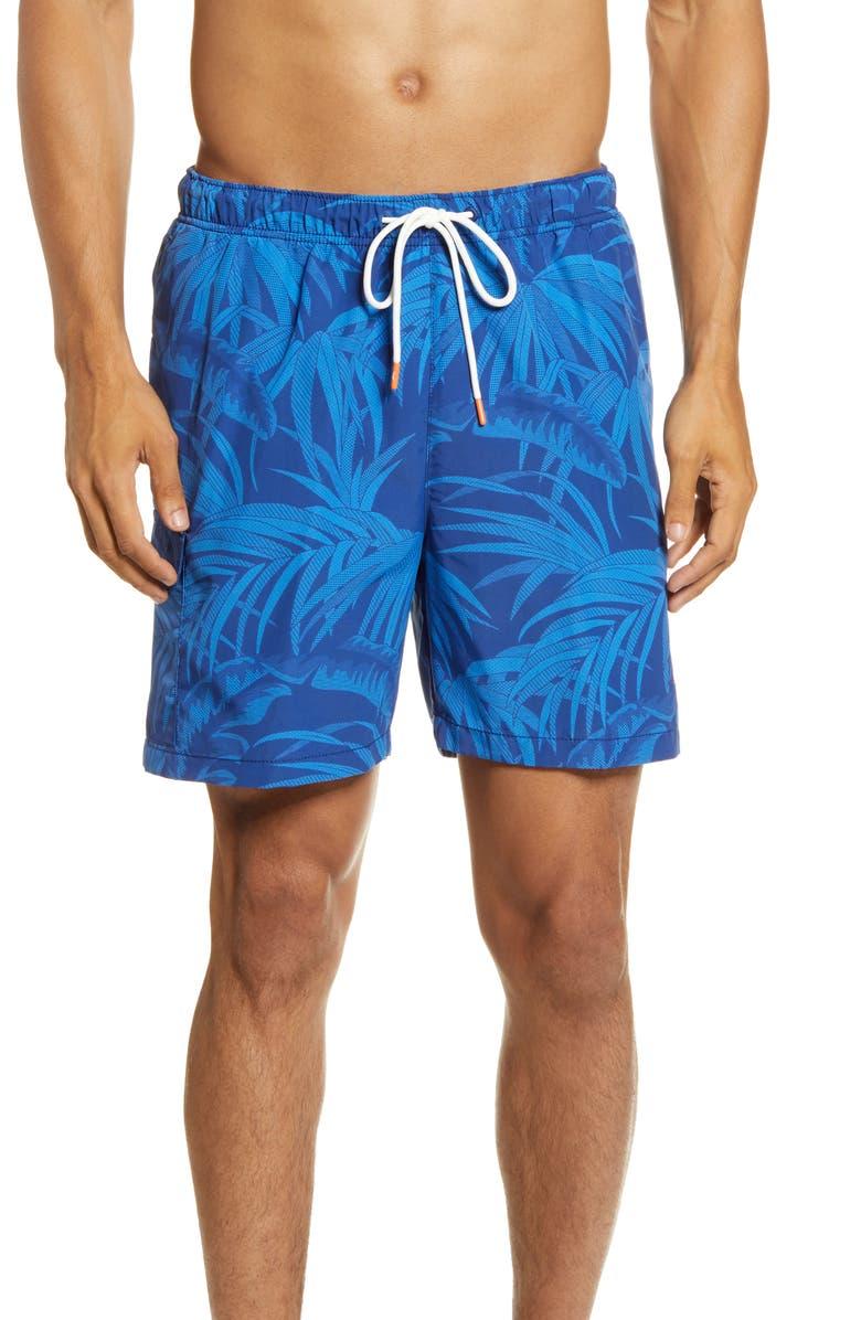 TOMMY BAHAMA Naples Desert Fronds Nylon Swim Trunks, Main, color, MONACO BLUE