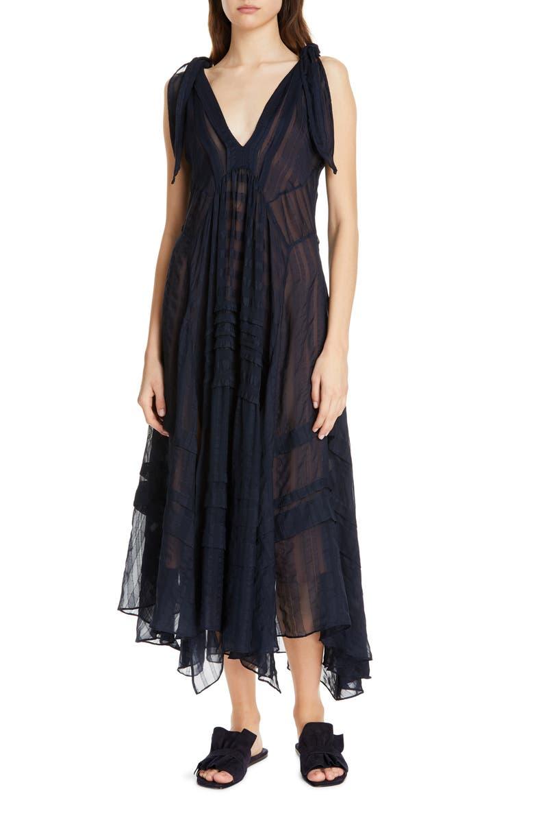 REBECCA TAYLOR Sleeveless Stripe Silk Maxi Dress, Main, color, NAVY