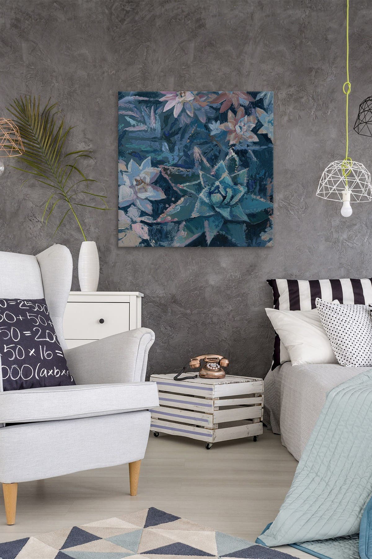 """Image of Marmont Hill Inc. Tropical Garden Painting Print on Wrapped Canvas - 12"""" x 12"""""""