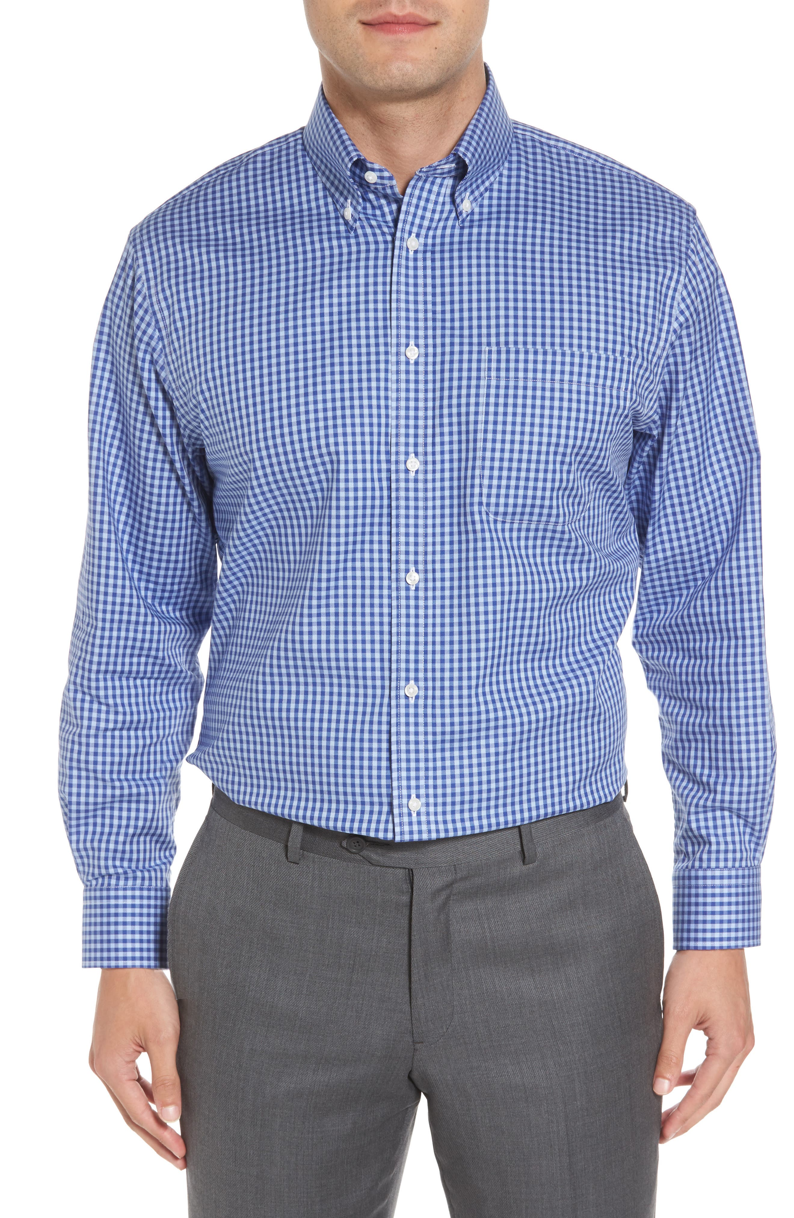 ,                             Traditional Fit Non-Iron Gingham Dress Shirt,                             Main thumbnail 55, color,                             421