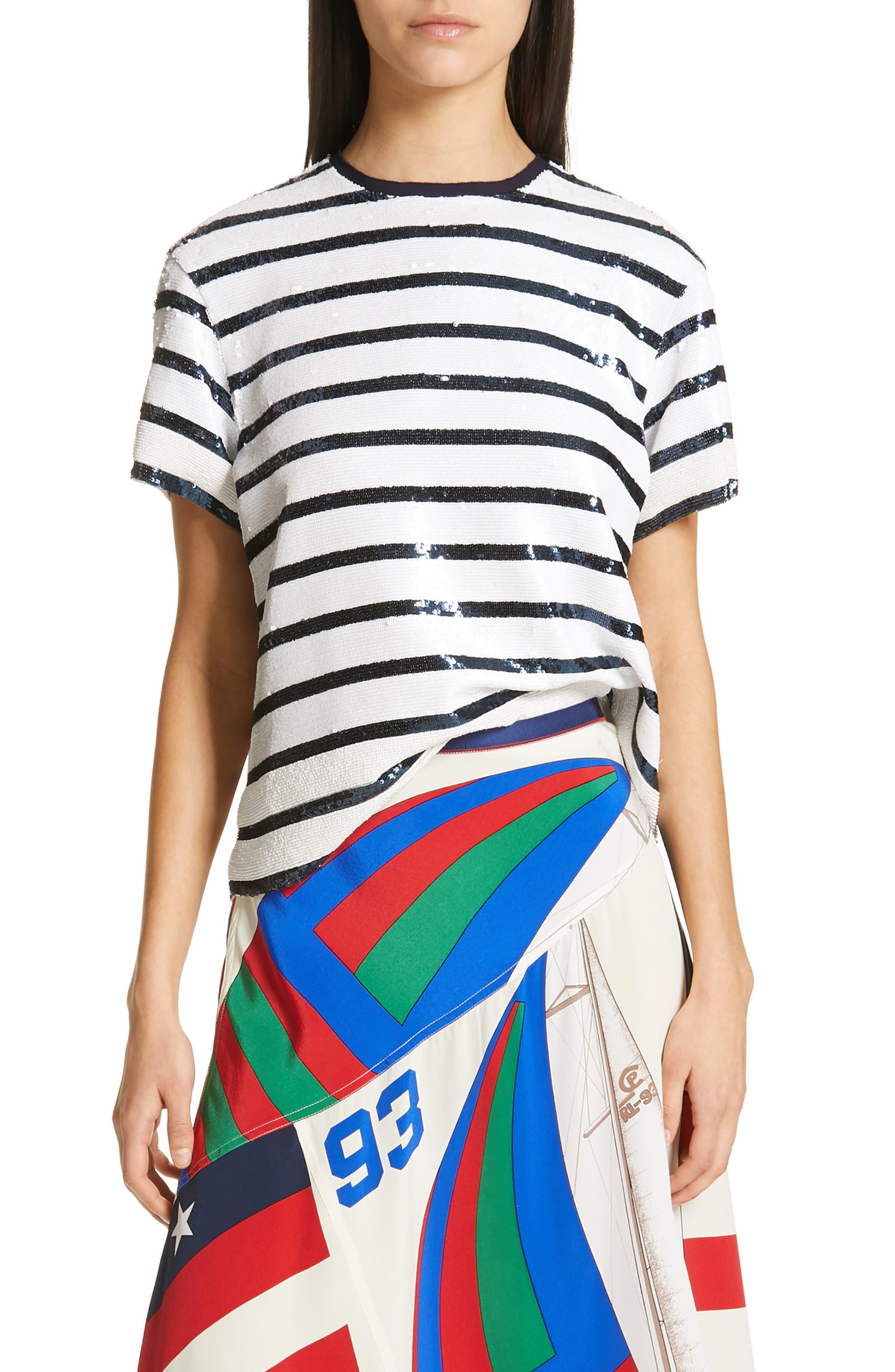 ,                             Sequin Stripe Tee,                             Main thumbnail 1, color,                             WHITE/ NAVY STRIPE