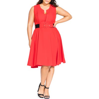 Plus Size City Chic Vintage Veronica Belted Pleat Fit & Flare Dress