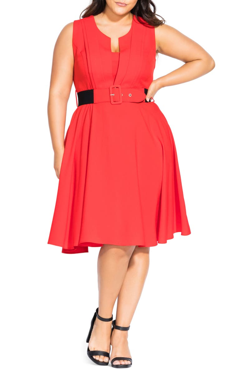 CITY CHIC Vintage Veronica Belted Pleat Fit & Flare Dress, Main, color, DOLCE RED