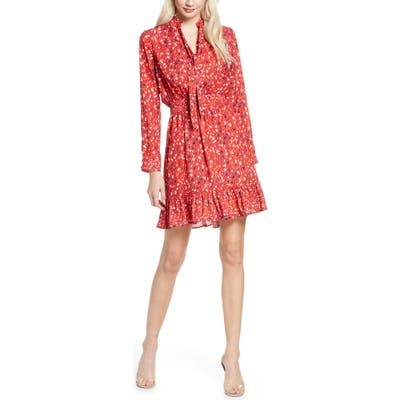 Sam Edelman Speckle English Rose Long Sleeve Fit & Flare Dress, Red