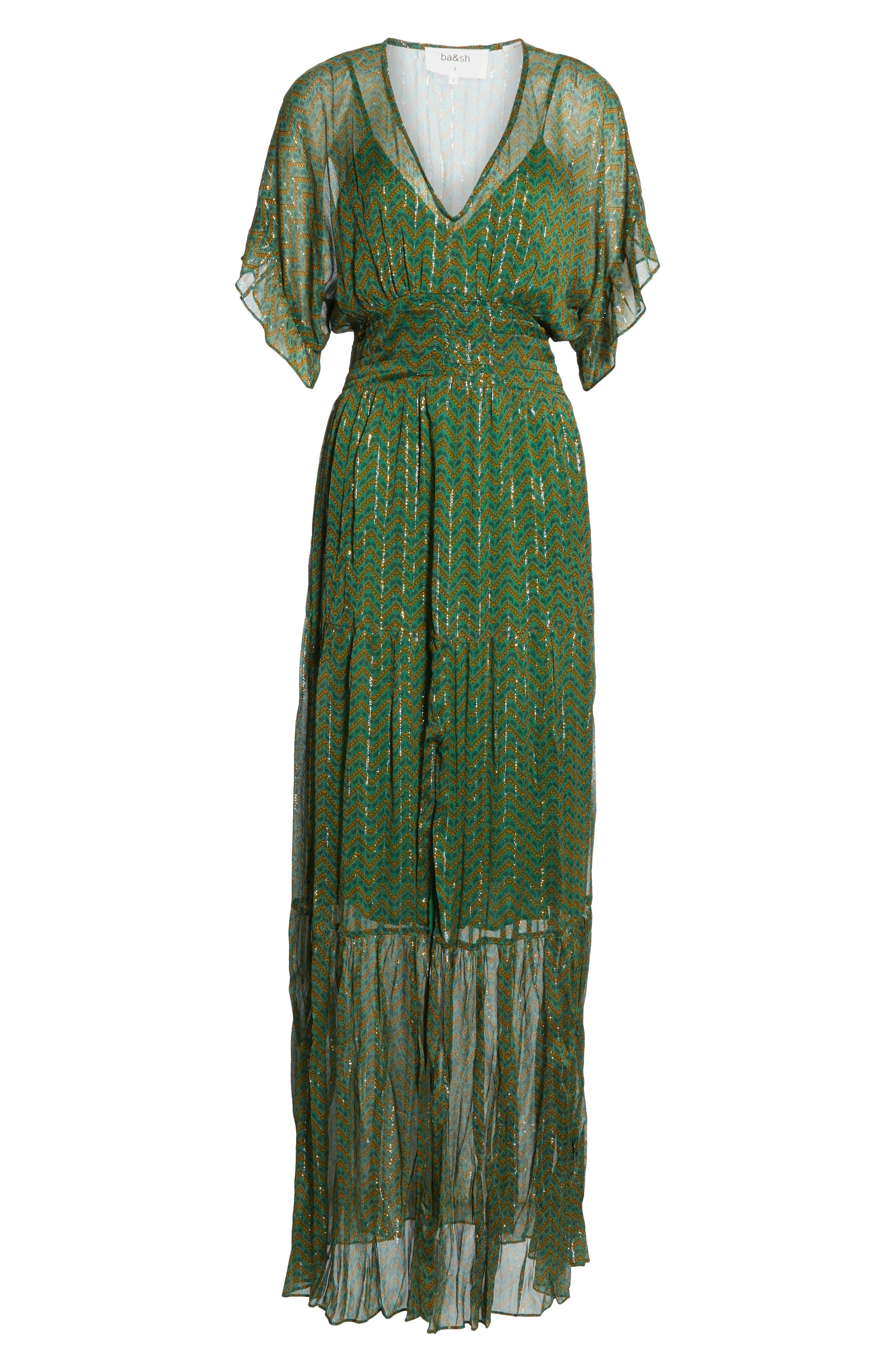 ,                             Wanda Metallic Accent Maxi Dress,                             Alternate thumbnail 7, color,                             VERT