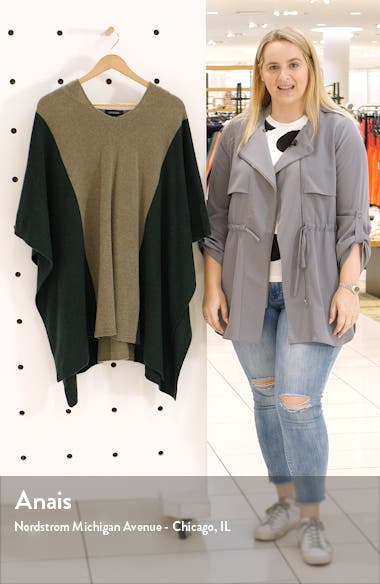 Colorblock Hooded Cashmere Poncho, sales video thumbnail
