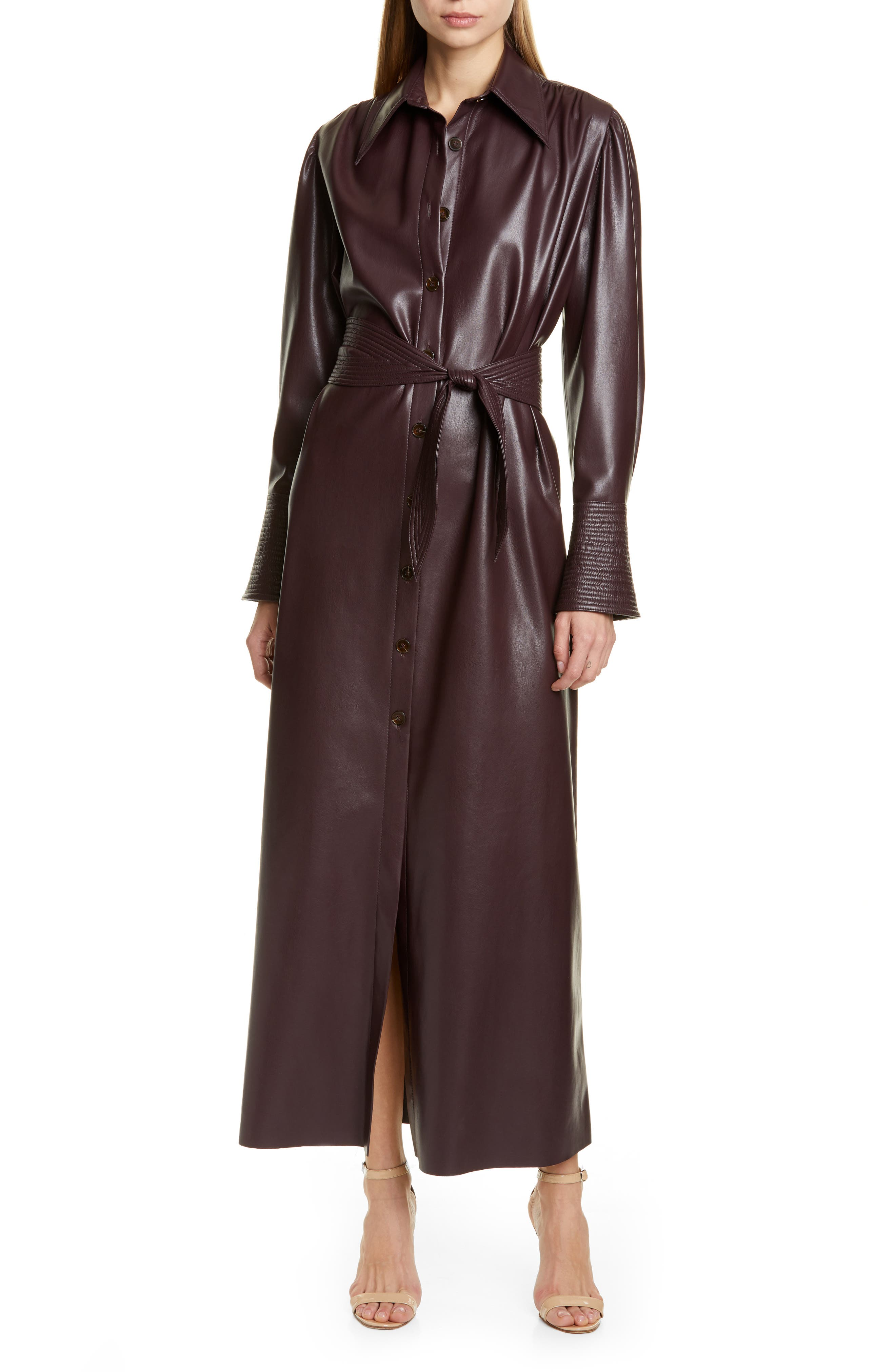 Nanushka Dresses Rosana Long Sleeve Faux Leather Shirtdress