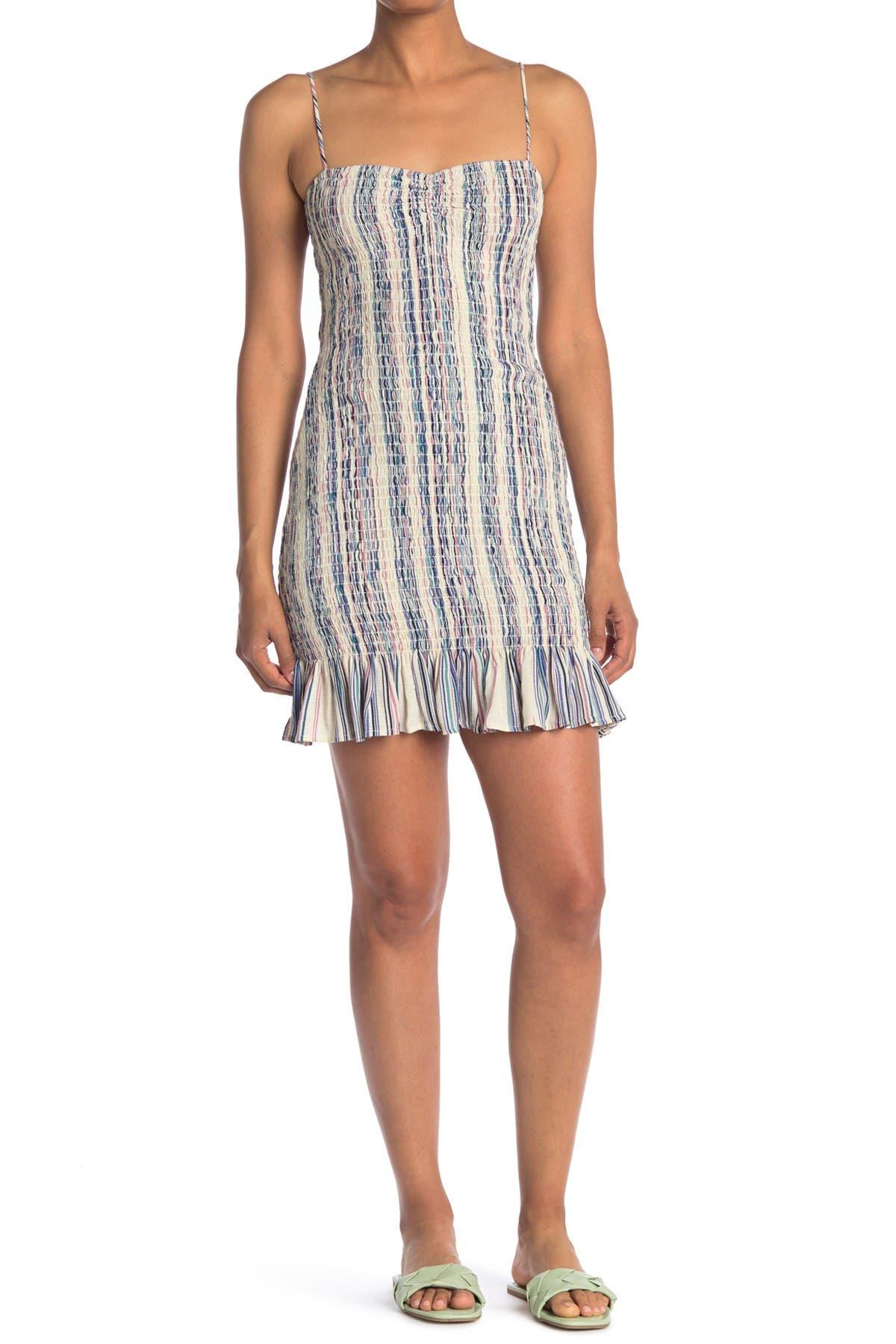 Image of ROW A Spaghetti Strap Smocked Striped Dress