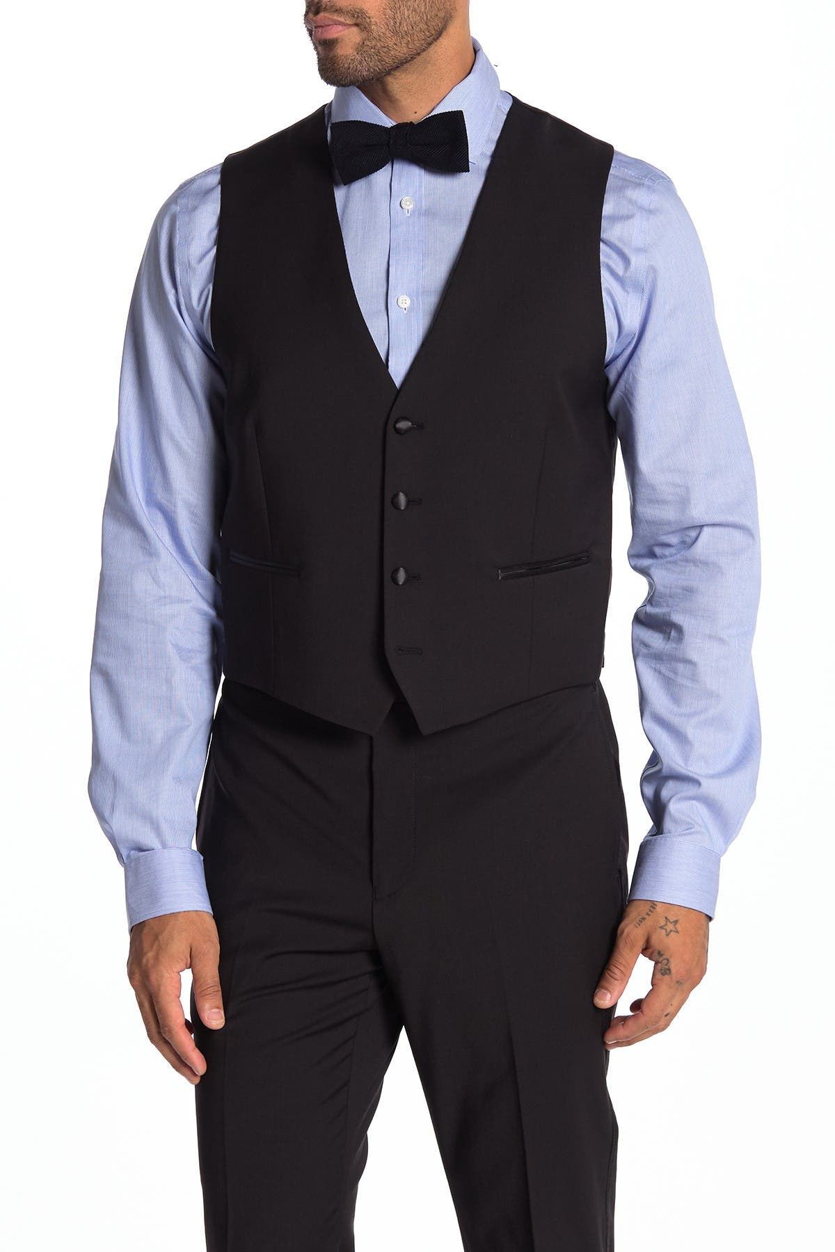 Image of Calvin Klein Plain Black Slim Fit Suit Separate Vest