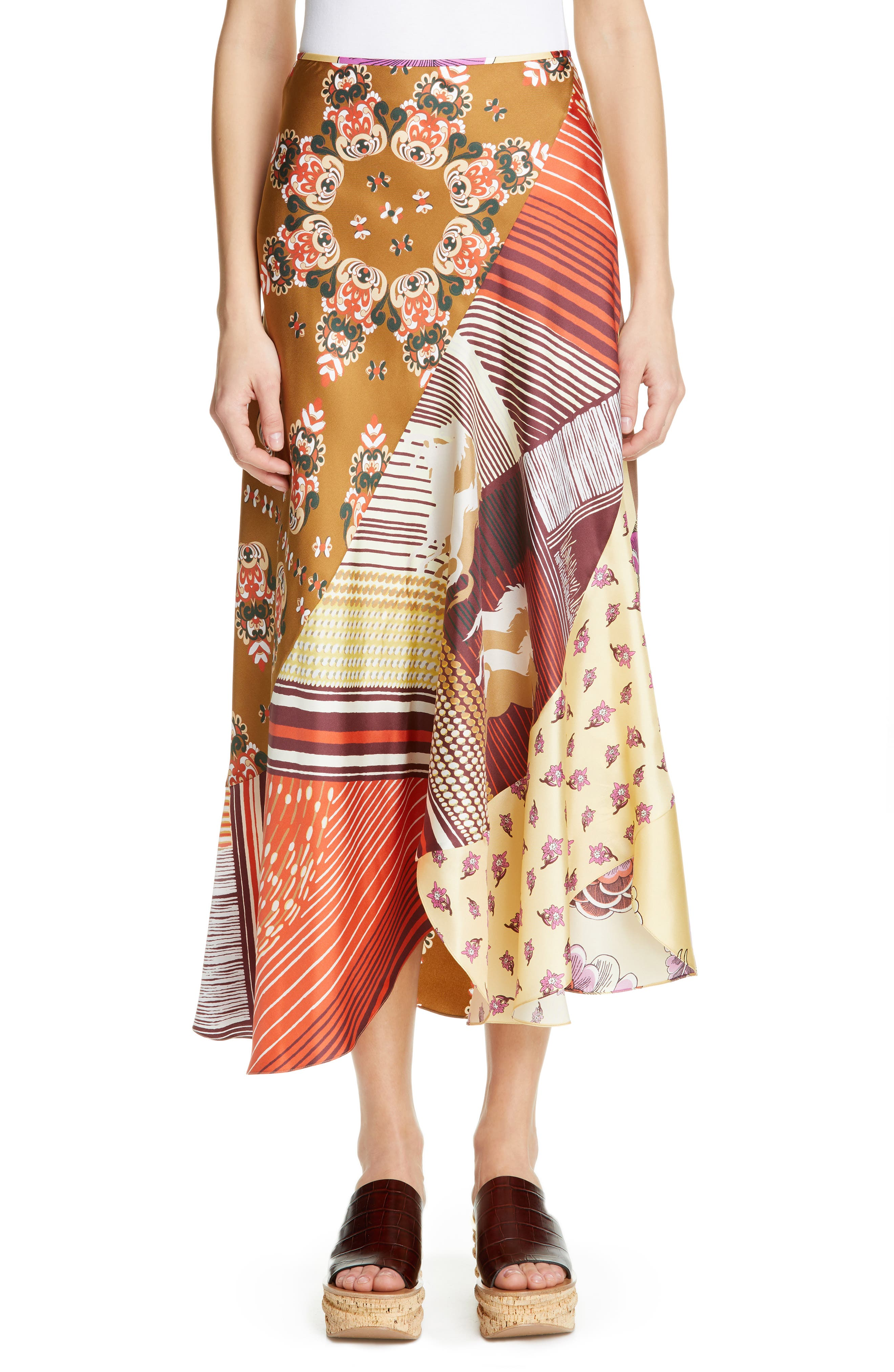 Mixed Print Bias Cut Silk Skirt, Main, color, 3ZA-MULTICOLOR GREEN 1