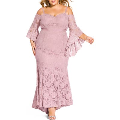 Plus Size City Chic Mesmerize Lace Maxi Dress, Pink