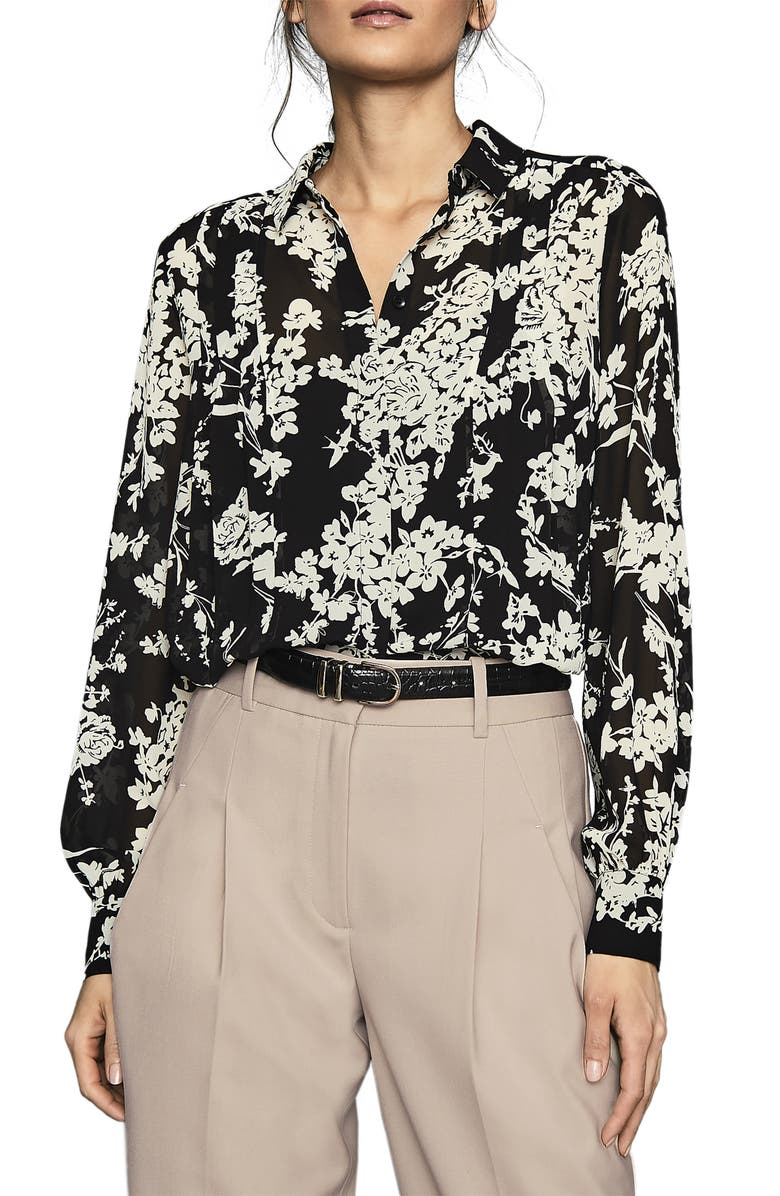 REISS Jean Pleated Floral Long Sleeve Blouse, Main, color, BLACK