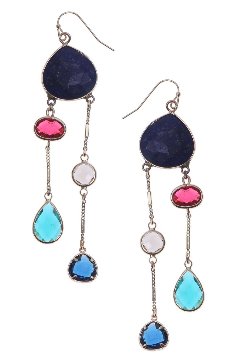 NAKAMOL CHICAGO 2-Strand Drop Earrings, Main, color, LAPIS MIX