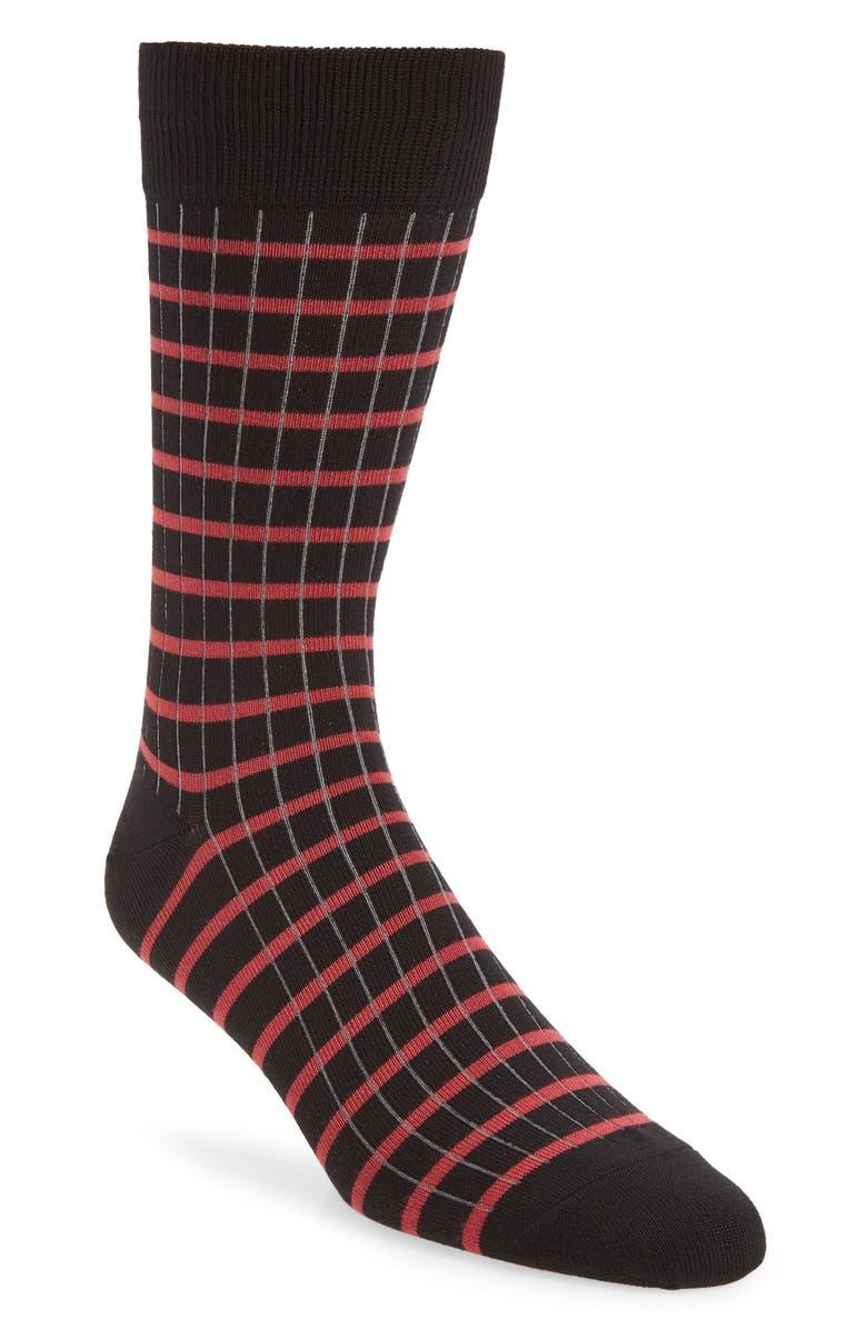 NORDSTROM MEN'S SHOP Ultra Soft Check Socks, Main, color, 001