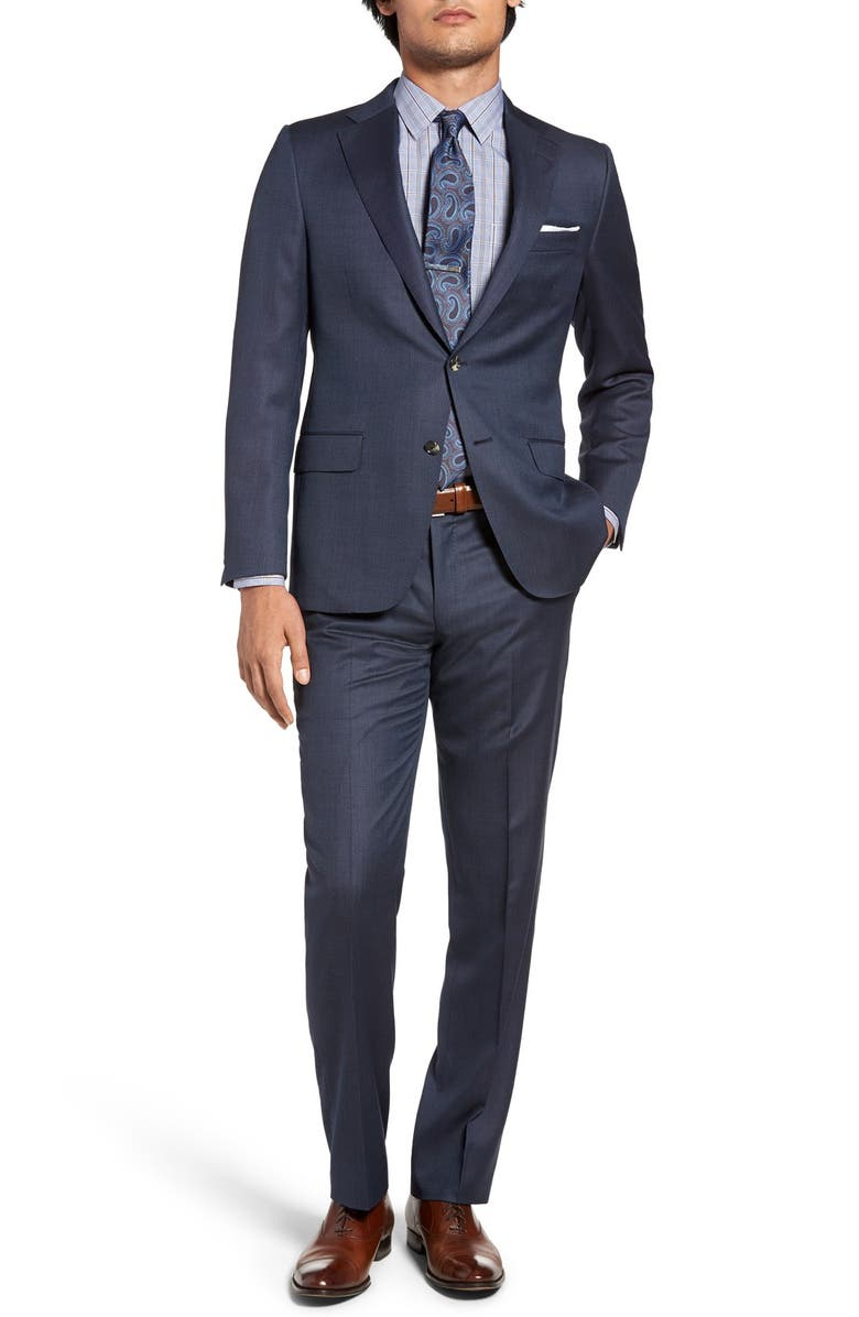 HICKEY FREEMAN Classic Fit Solid Wool Suit, Main, color, 400