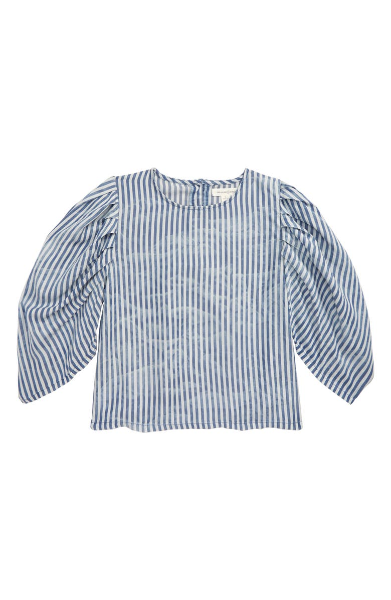 TREASURE & BOND Exaggerated Sleeve Top, Main, color, BLUE STONE- WHITE STRIPE