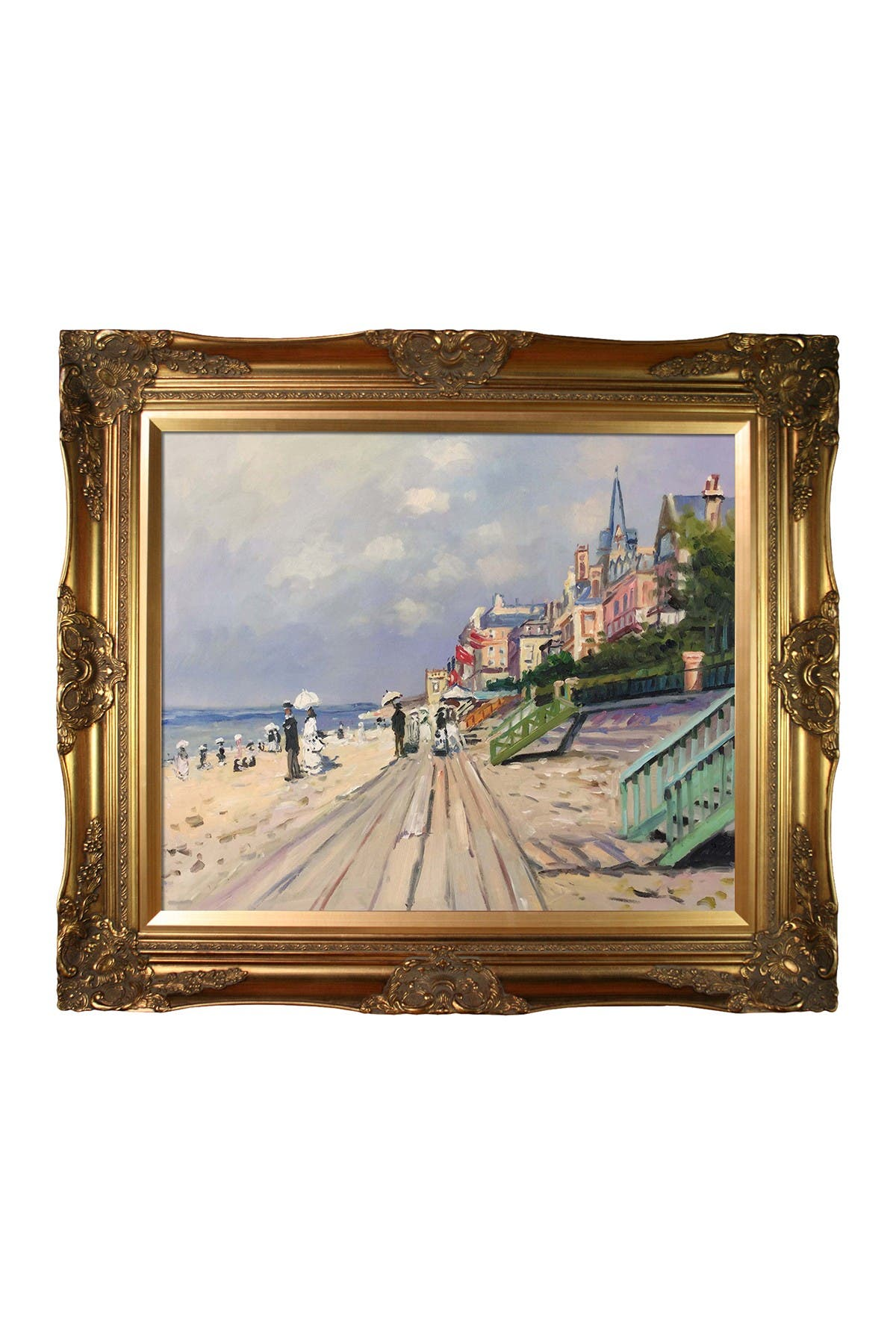 Image of Overstock Art The Boardwalk At Trouville Framed Reproduction Oil Painting