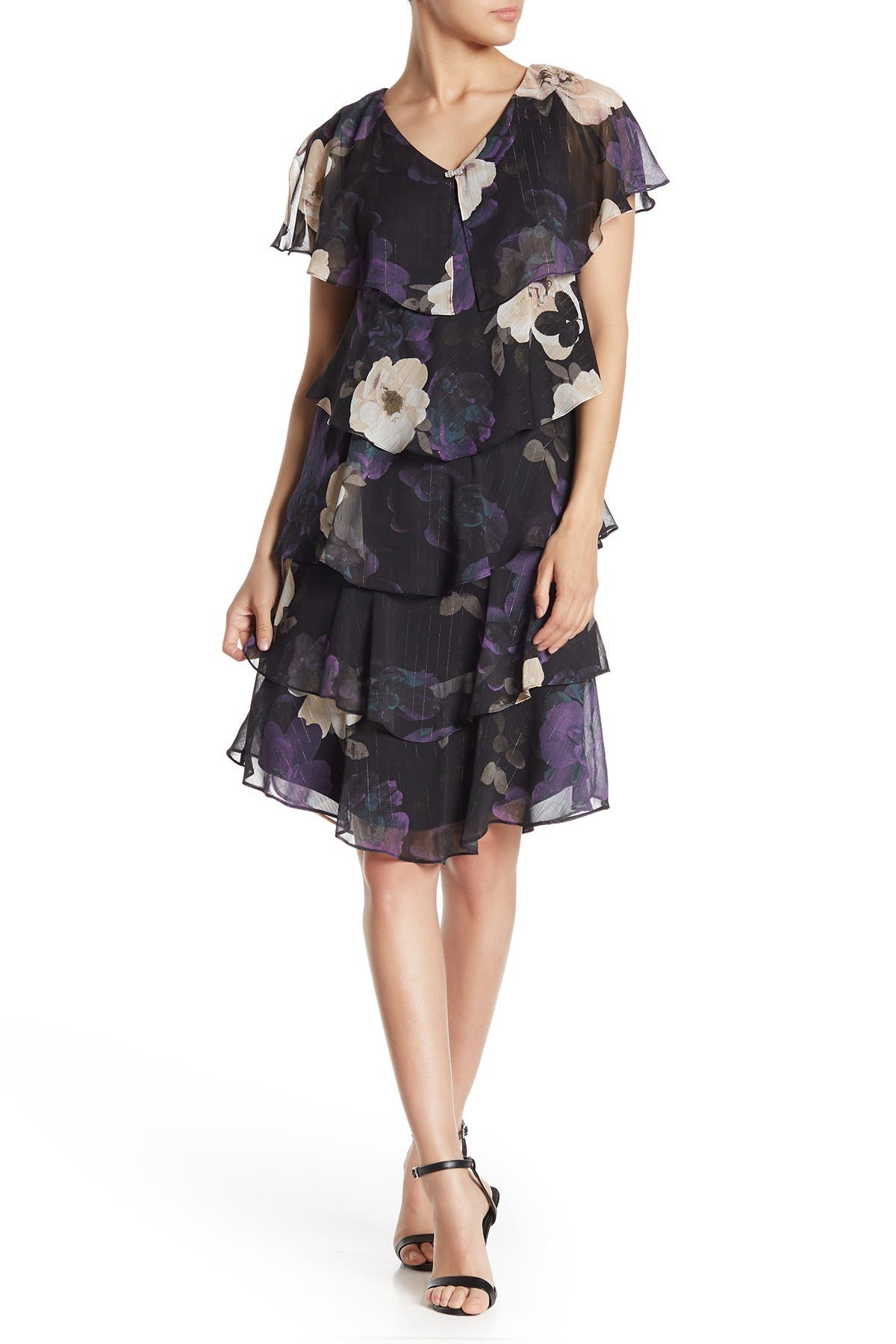 Image of SL Fashions Floral Tiered Flutter Sleeve Dress