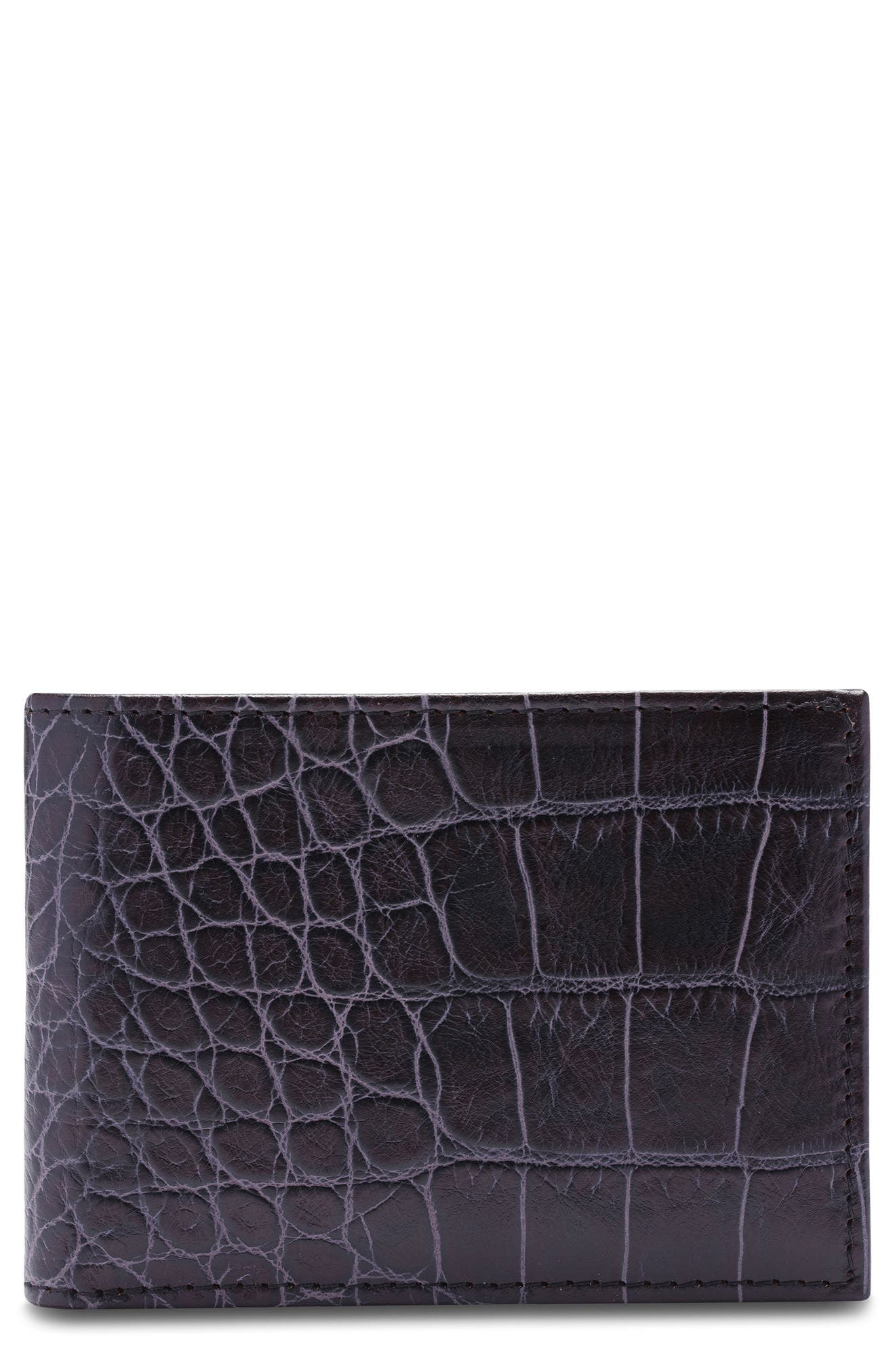 Croc Embossed Leather Small Bifold Wallet