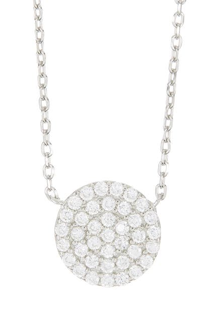 Image of Argento Vivo Sterling Silver CZ Circle Pendant Necklace