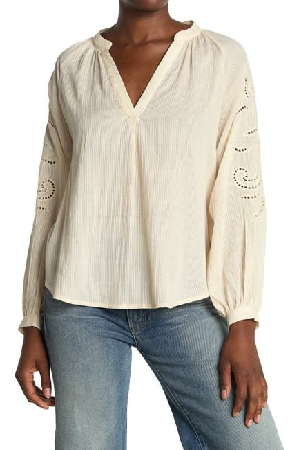 Image of ALL IN FAVOR Embroidered Peasant Blouse