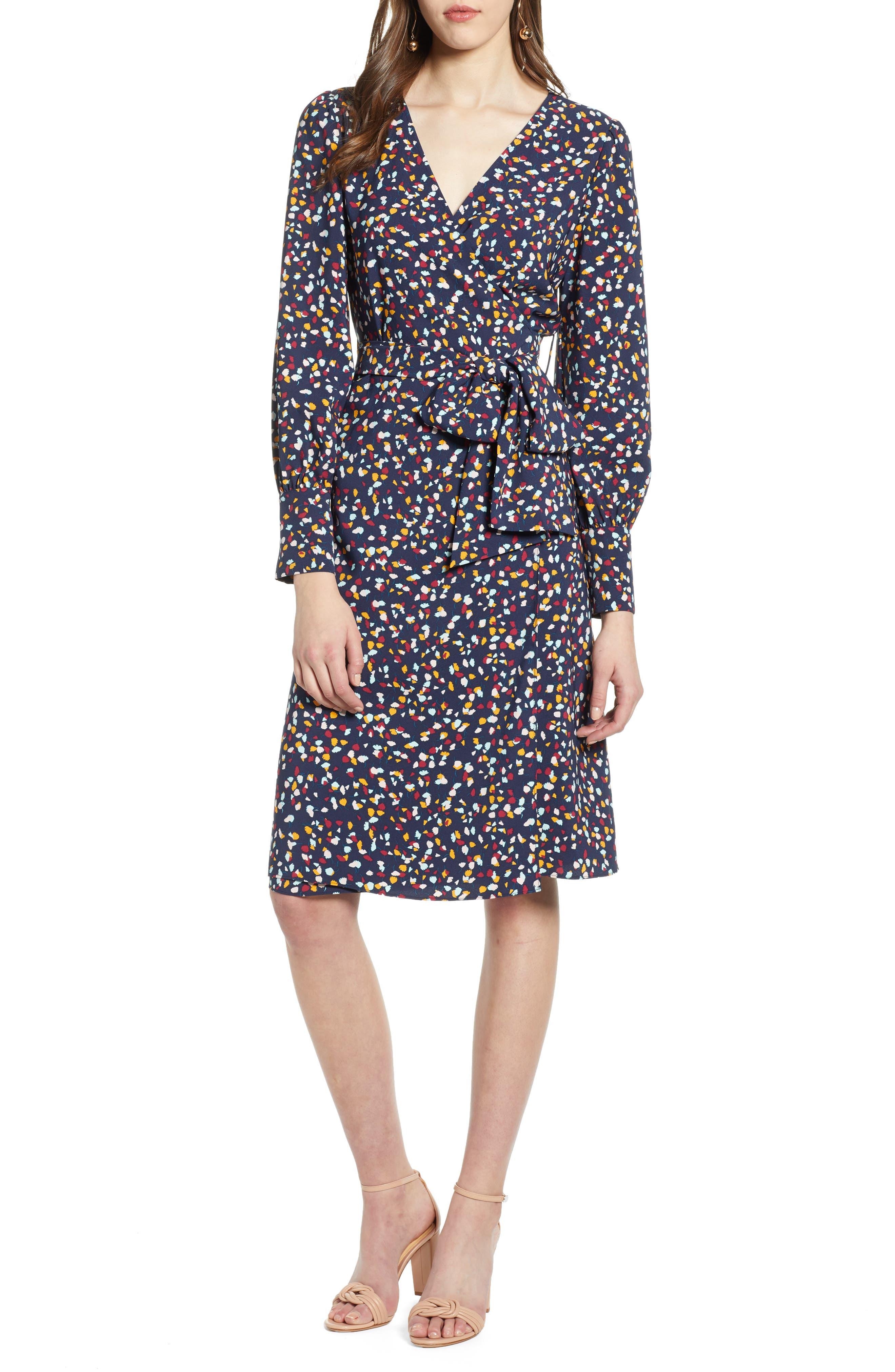 women's halogen wrap dress, size medium - blue