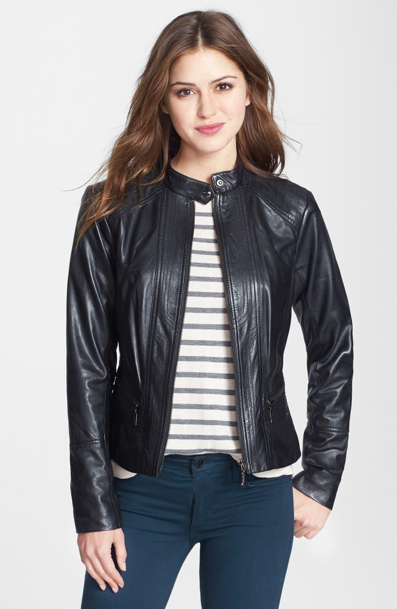 BERNARDO Front Zip Leather Scuba Jacket, Main, color, 001