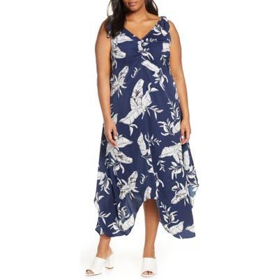 Plus Size Estelle Endless Summer Leaf Print Dress, Blue