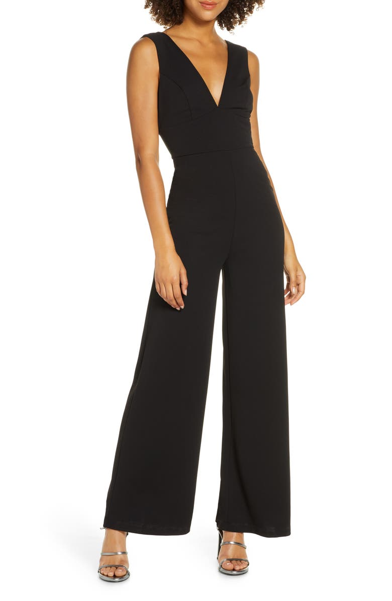 LULUS Ready For It Sleeveless Wide Leg Jumpsuit, Main, color, BLACK