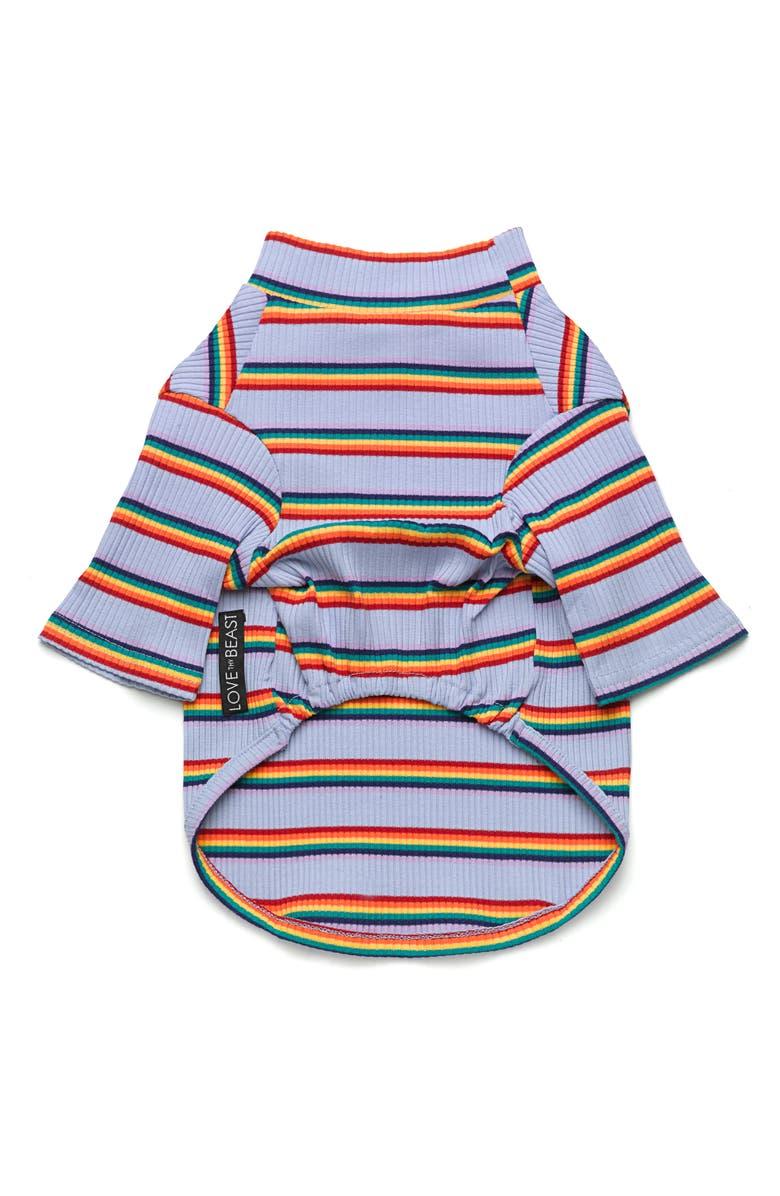 LOVETHYBEAST Rainbow Stripe Ribbed Dog Shirt, Main, color, RAINBOW