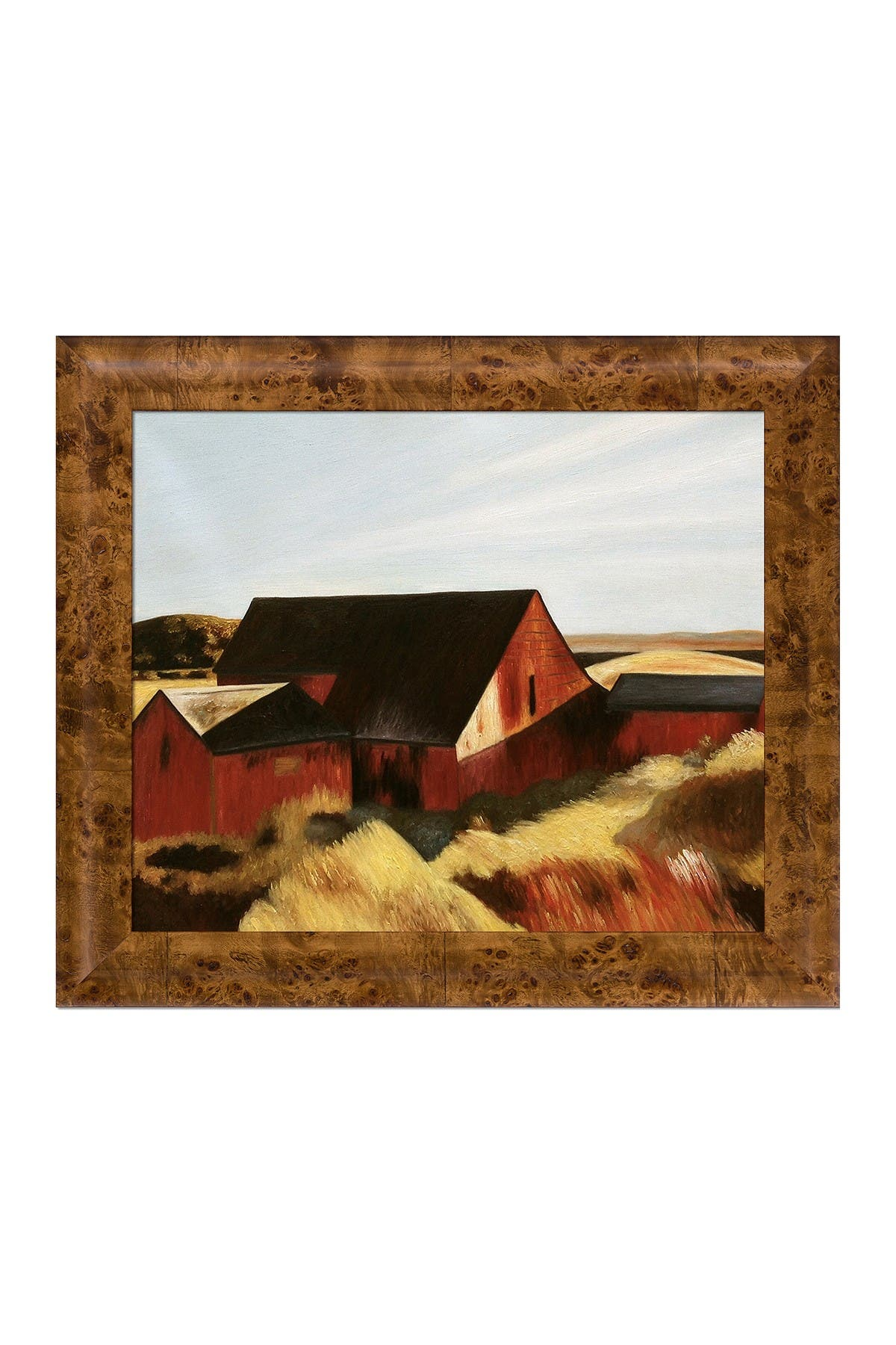 Image of Overstock Art Cobb's Barns, South Truro, 1933 - Framed Oil Reproduction of an Original Painting by Edward Hopper