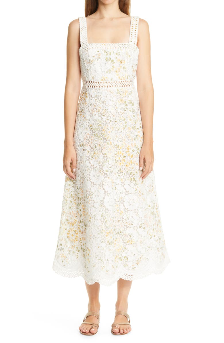 ZIMMERMANN Amelie Floral Broderie Anglaise Midi Sundress, Main, color, IVORY FLORAL