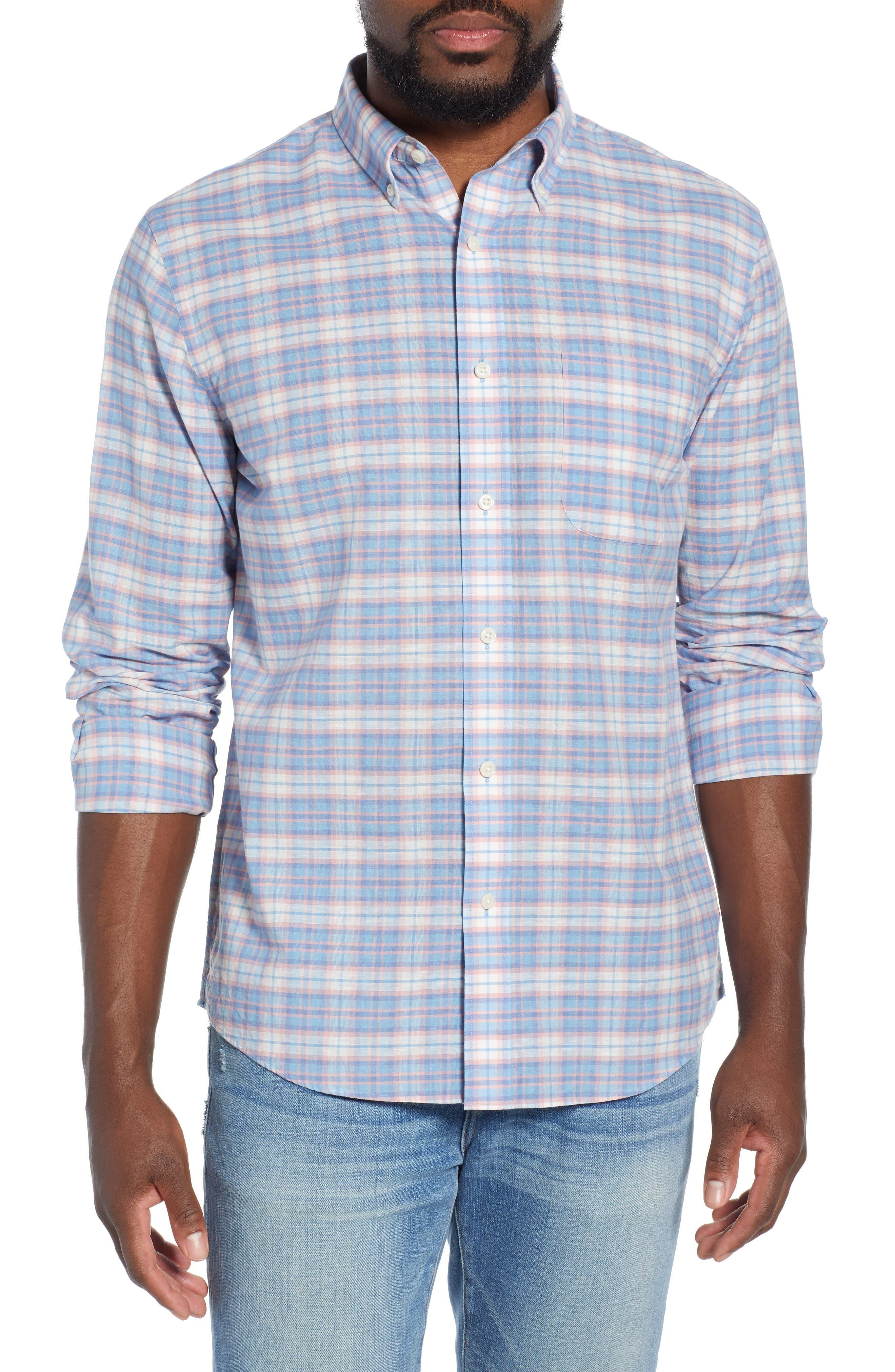 Faherty Summer Blend Regular Fit Plaid Sport Shirt, Blue