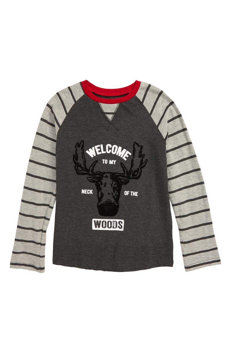HATLEY Vintage Moose Raglan Shirt, Main, color, GREY