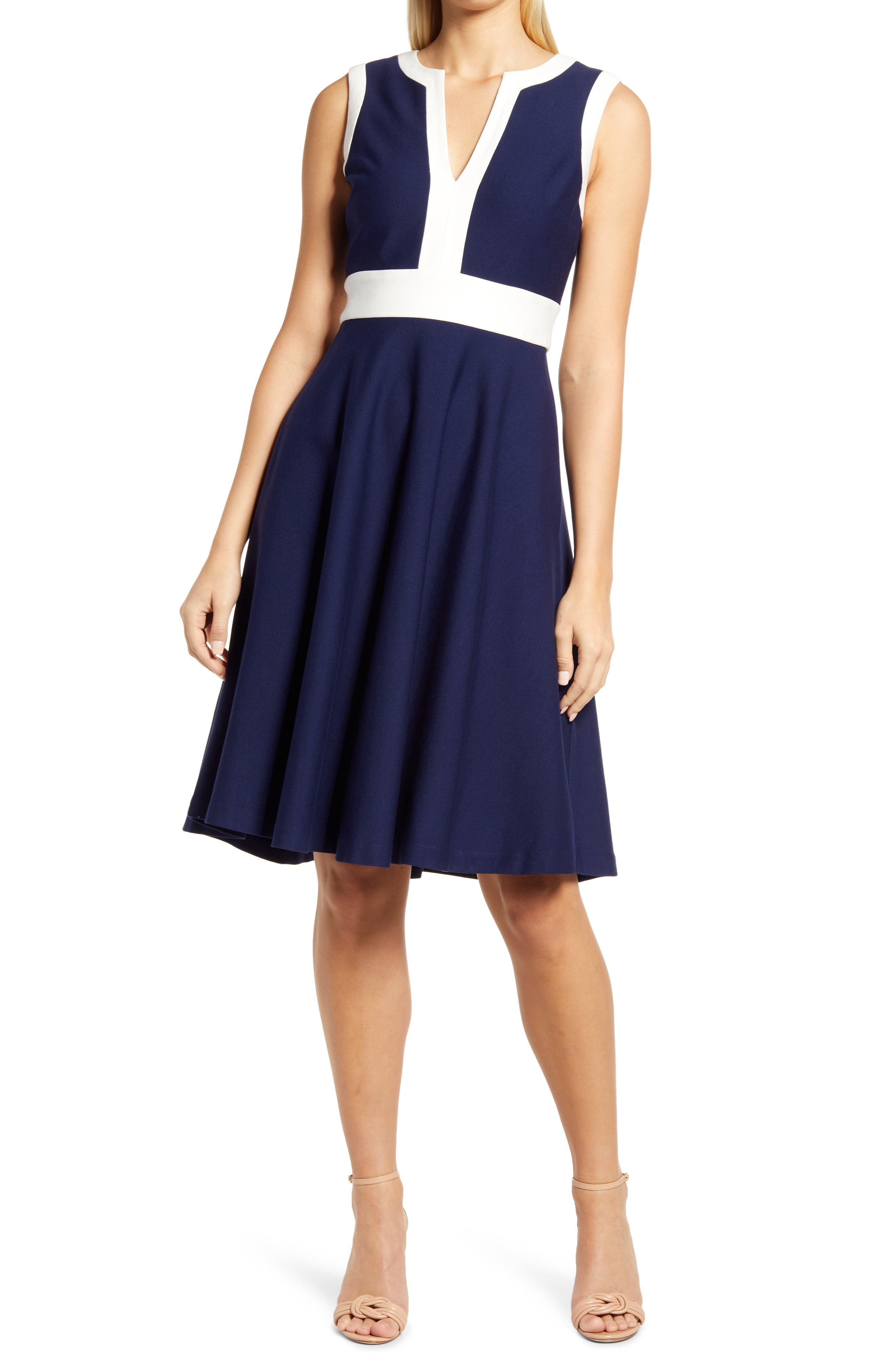 Two Tone Sleeveless A-Line Dress