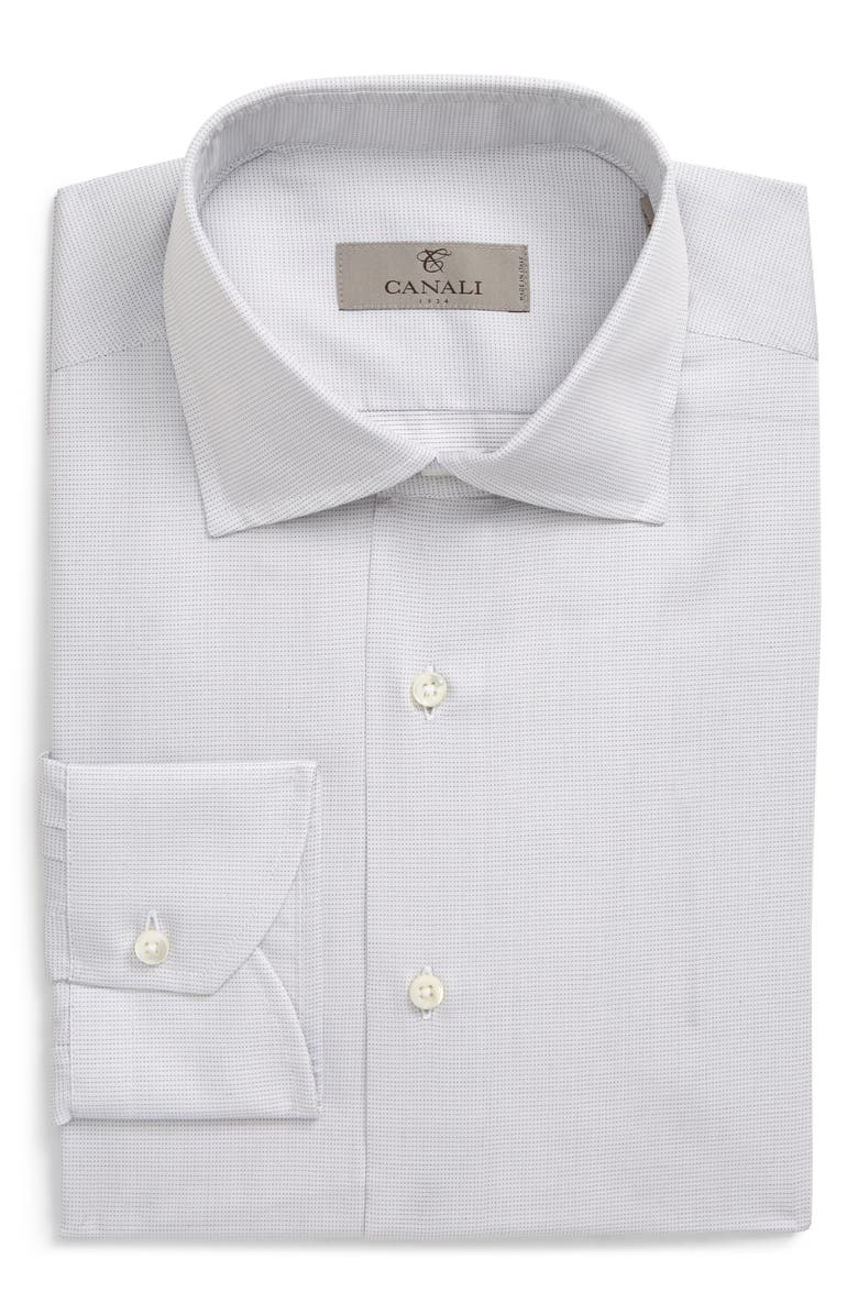 CANALI Slim Fit Dot Dress Shirt, Main, color, LIGHT GREY