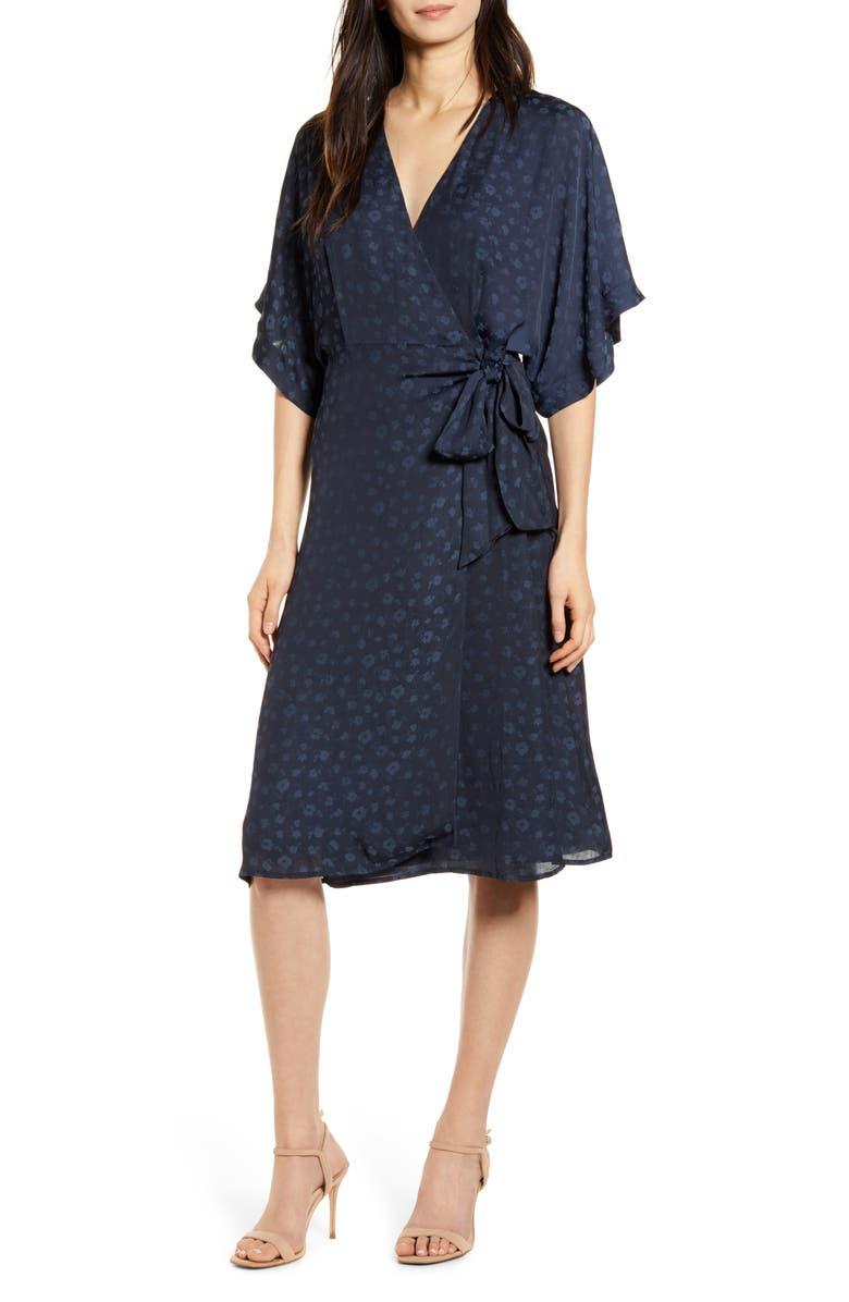 CHELSEA28 Floral Wrap Dress, Main, color, NAVY IRIS