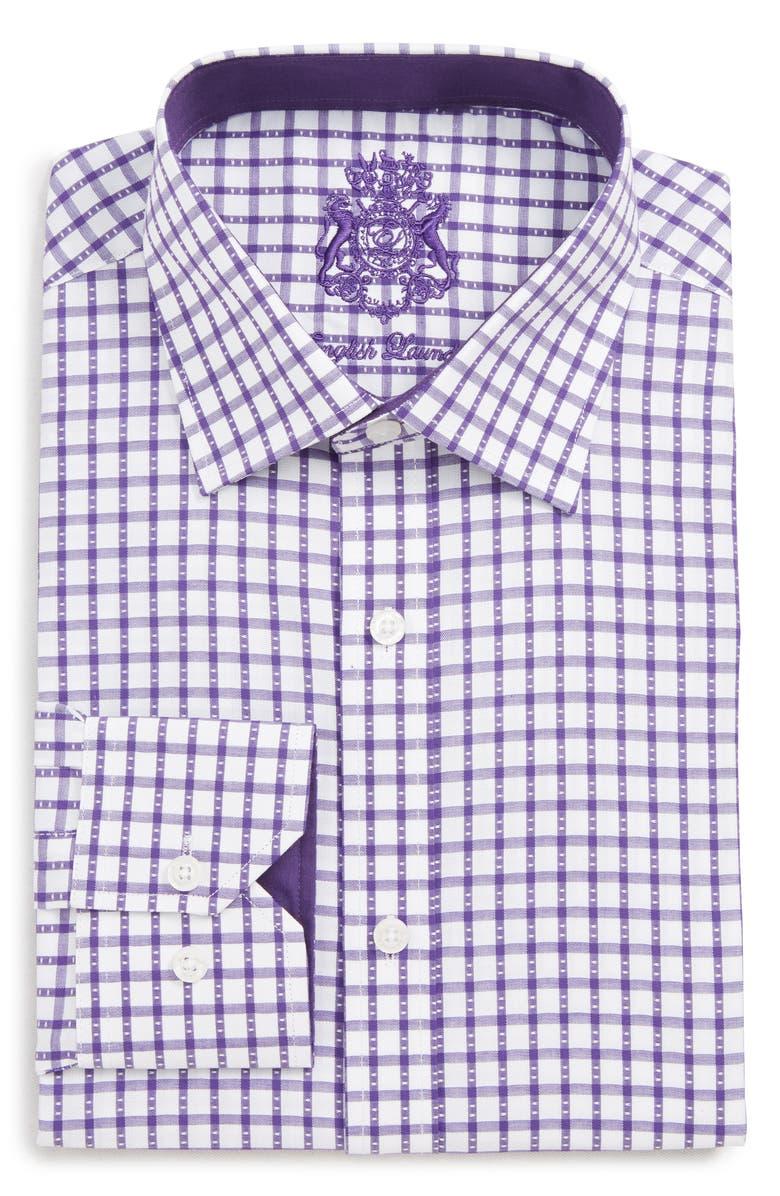 ENGLISH LAUNDRY Trim Fit Check Dress Shirt, Main, color, PURPLE