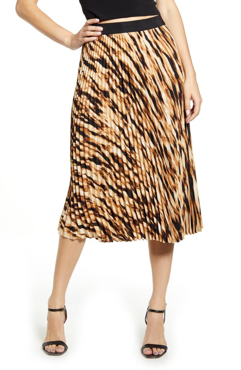 LEITH Pleated Midi Skirt, Main, color, TAN DALE TIGERESS