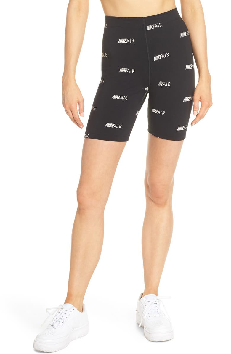 NIKE Sportswear Air Print Bike Shorts, Main, color, BLACK/ WHITE
