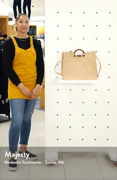 Wood Handle Faux Leather Tote, sales video thumbnail