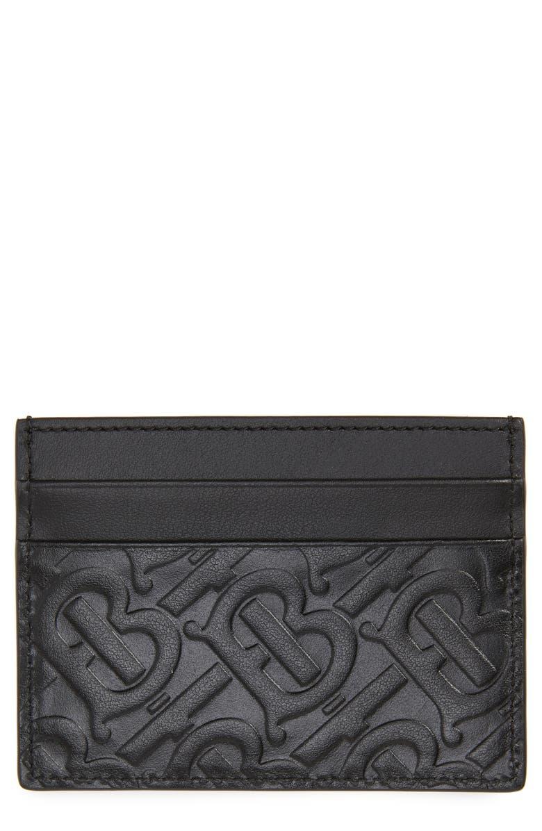 BURBERRY Sandon TB Monogram Leather Card Case, Main, color, 001